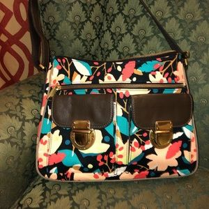 Fossil Floral Canvas Purse with Leather Trim
